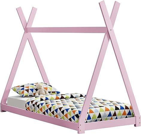 en.casa Letto per Bambini 90 x 200 cm con Materasso Design Teepee Indiano Lettino a Tenda Legno di Pino Bianco Opaco