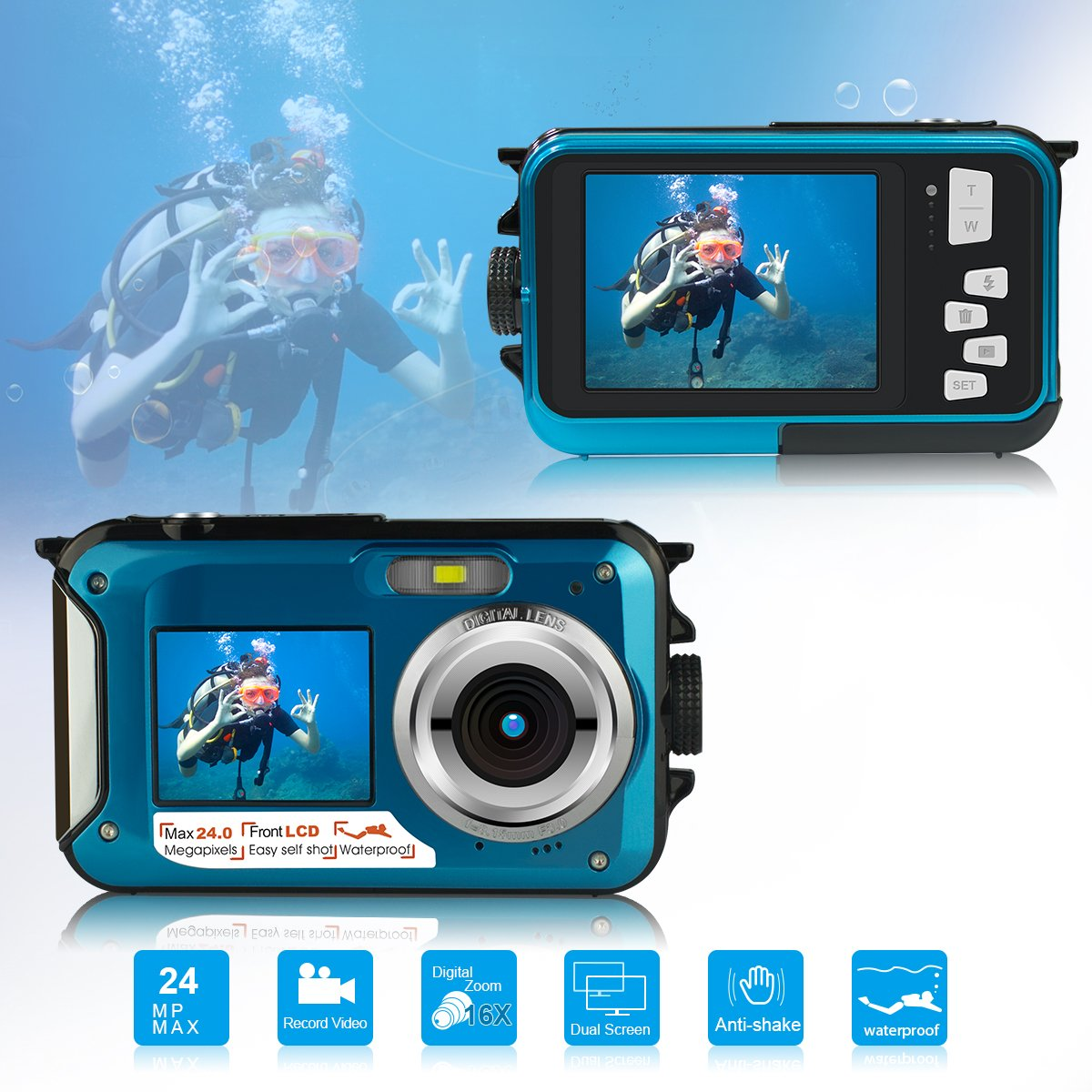 Waterproof Underwater Digital Camera for Snorkeling,Selfie Dual Screen Digital Cameras Waterproof Underwater Video Camera-Holiday,Trip (Blue) by Suntak