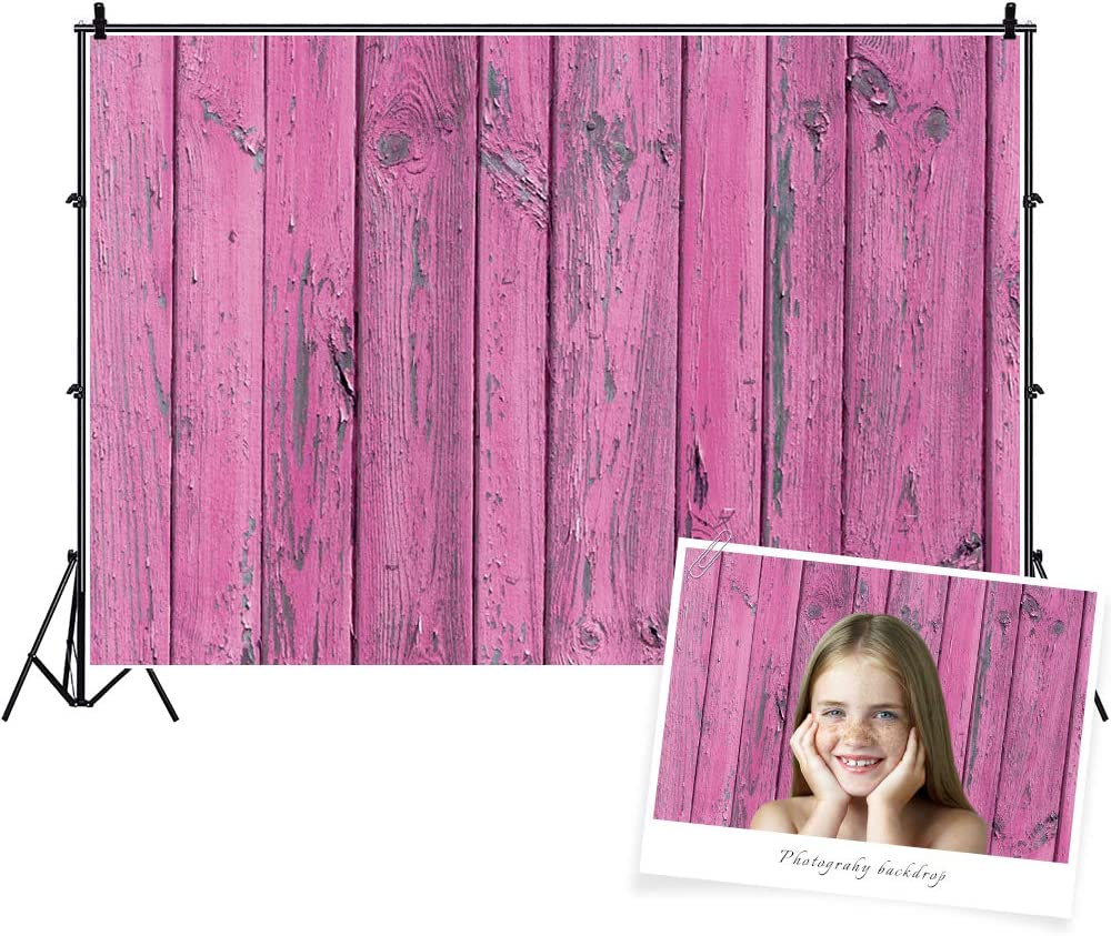 Baocicco 7x5ft Vintage Weathered Peeled Rustic Pink Wood Backdrops Shabby Countryside Pink Wood Plank Stained Retro Pink Wood Board Photography Backgrounds Foods Pets Clothes Photo Shooting Prop