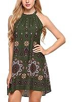 BLUETIME Women's Casual Sleeveless Halter Neck Boho Print Short Dress Sundress