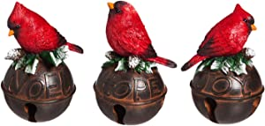 Cypress Home Cardinal on Bell Seasonal Tabletop Décor, Set of 3