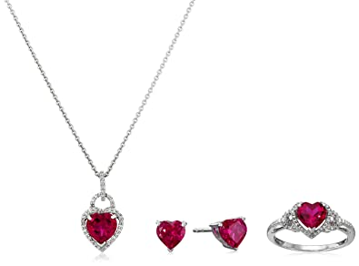 Amazon sterling silver created ruby heart with diamond pendant sterling silver created ruby heart with diamond pendant necklace earrings and ring box set aloadofball Image collections