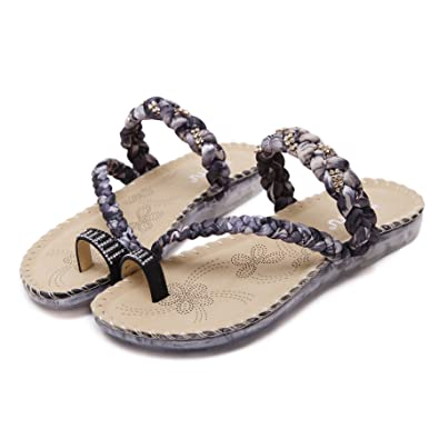 Damen Sommer Sandalen Böhmische Zehentrenner Sommerschuhe Frauen Flach Outdoor Schuhe,Schwarz 39