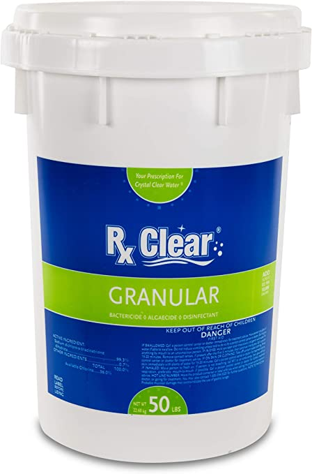 Amazon Com Rx Clear Stabilized Granular Chlorine One 50 Pound Bucket Use As Bactericide Algaecide And Disinfectant In Swimming Pools And Spas Slow Dissolving And Uv Protected Garden Outdoor