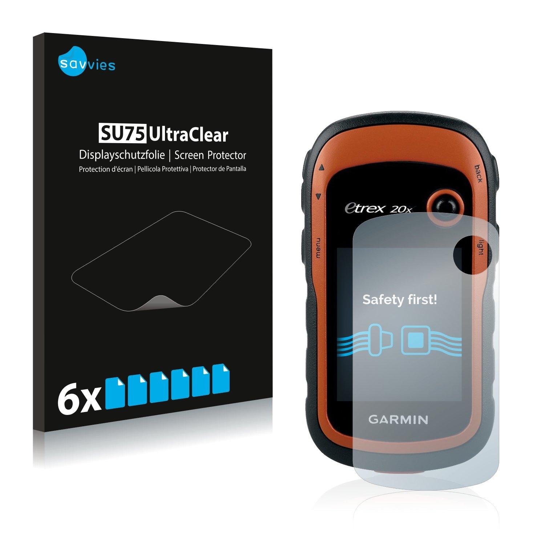 Savvies Schutzfolie f/ür Garmin eTrex 20x klarer Displayschutz 6er Pack