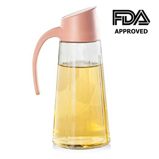 Olive Oil Dispenser Bottle, Vinegar Dispensing Cruets, 17 Oz Condiment Oil Glass Bottle, Pink