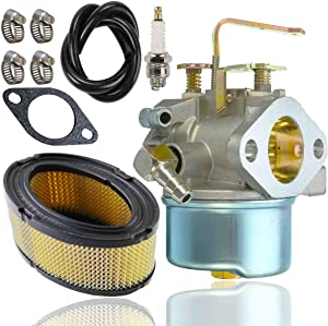 640152 Carburetor for Tecumseh 640152A 640023 640051 640140 640152 HM80 HM90 HM100 8-10 HP Engine Snow Blower Mower 5000w Generator (with 33268 Air Filter+ Spark Plug+Fuel line)