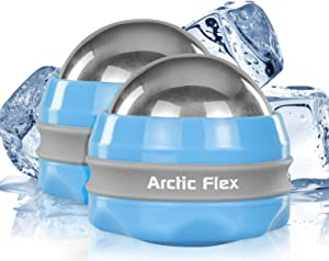 Arctic Flex Cold Massage Ball Roller (2-Pack) - Mini Cryo Massager Sphere for Back, Arm, Calf, Deep Tissue and Face - Manual Trigger Point Lacrosse Ball for Myofascial Release and Sore Muscle Relief