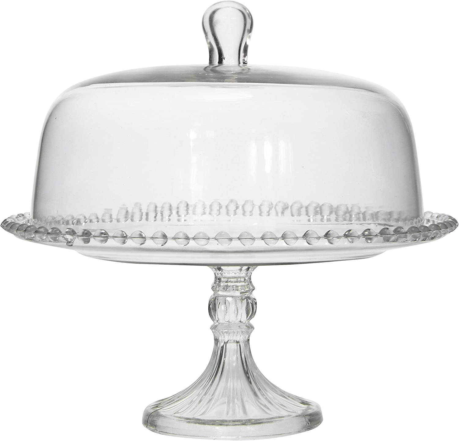 Creative Co-op Round Glass Hobnail Edge and Cloche Cake Stand, Clear