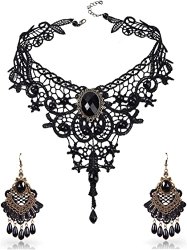 Qrettie Gargantilla Collar Pendientes Set para Halloween Punk ...