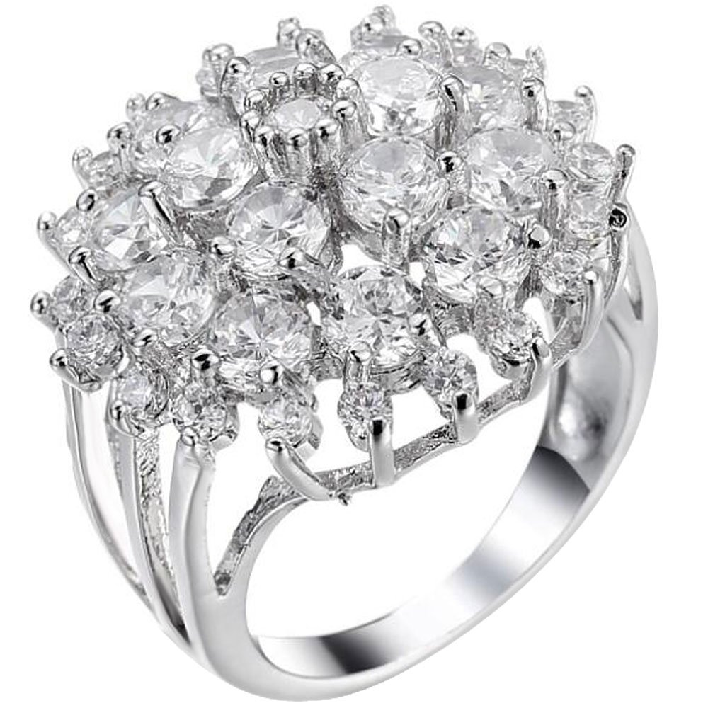 XAHH Women 925 Sterling Silver Plated Round Cut AAA Cubic Zirconia CZ Hollow Flower Bridal Wedding Ring 10