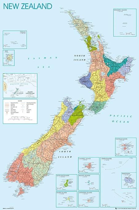 Gb Eye Ltd New Zealand Mapa Maxi Poster 61 X 91 5 Cm Amazon