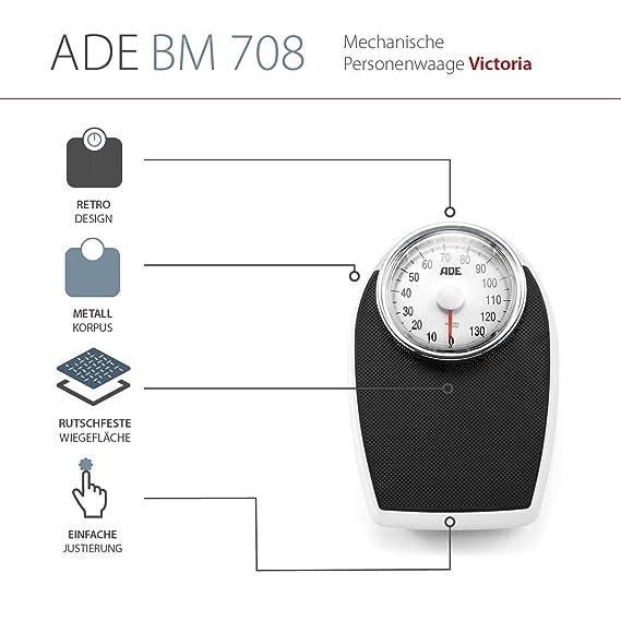ADE Báscula mecánica de baño BM708 Victoria. Tipo medico. Metal robusto y goma antideslizante (Negro-plata): Amazon.es: Salud y cuidado personal