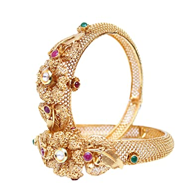 Learned Traditional Ethnic Goldtone 2pc Bangle Set Women Bracelet Indian Party Jewellery Engagement & Wedding Wedding Party Jewellery