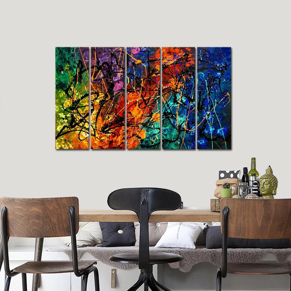 Wieco Art Colorful Abstract Heart Oil Paintings on Canvas Wall Art Ready to Hang for Living Room Bedroom Home Office Decorations Modern 5 Panel 100% Hand Painted Stretched and Framed Artwork AB5121M