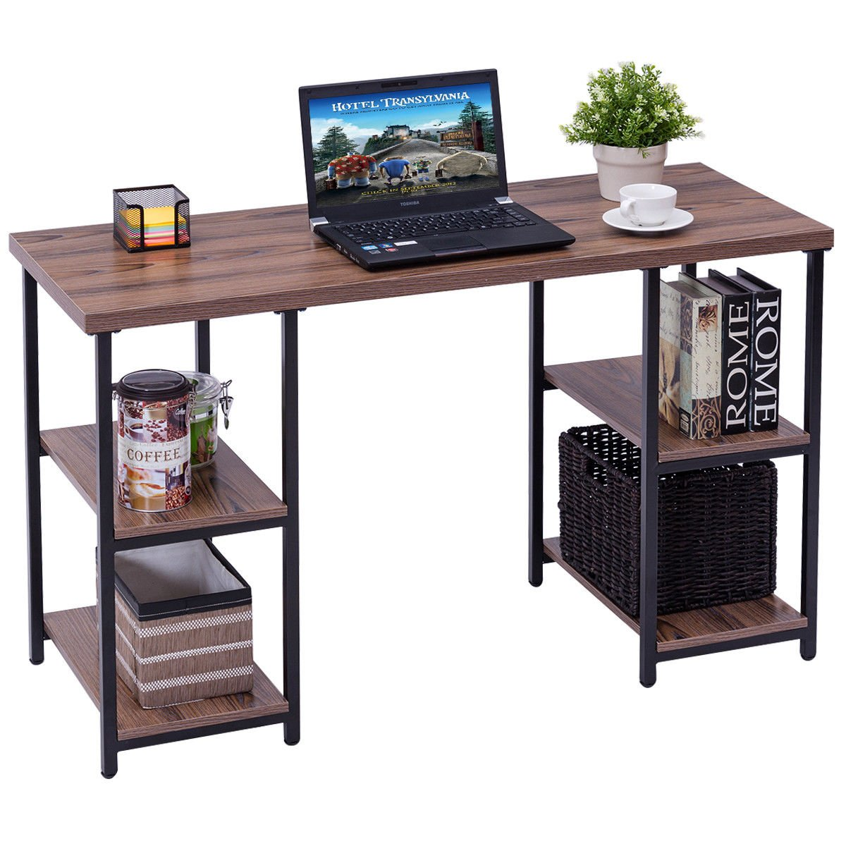 TANGKULA Computer Desk Home Office Metal Frame Laptop PC Desk Writing Table with Shelves