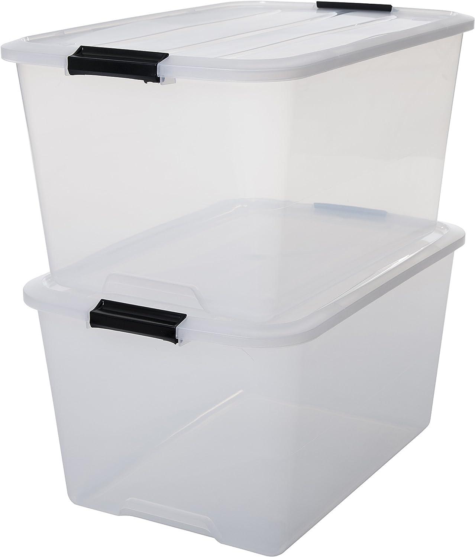 Iris–Juego de cajas con Comercio y tapa, sistema de ordenación, plástico, tapa Transparente, Set de 2
