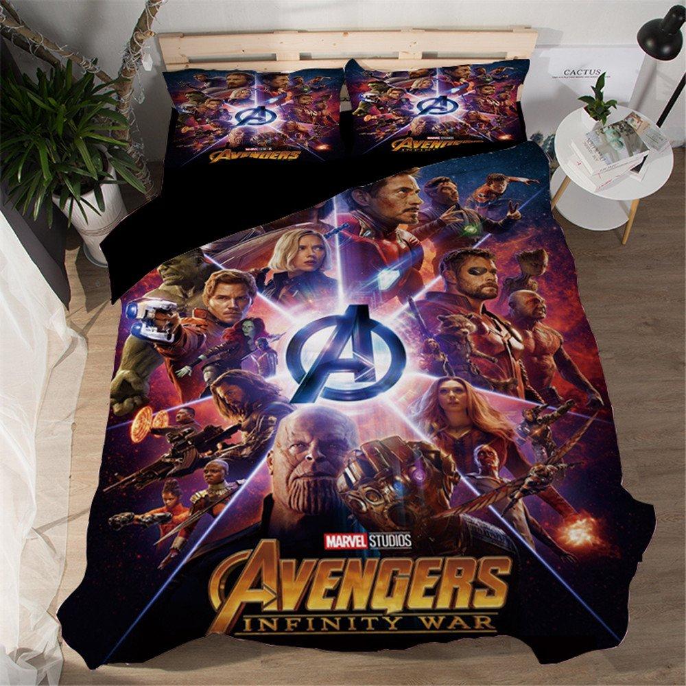 Jameswish Marvel Avengers 3D Duvet Cover Set Spider-Man Iron-Man Printed Bed Cover For Kids Heavy-Duty Microsoft Fiber Comfortable Decorative 1Duvet Cover 2Pillowshams King Queen Full Twin