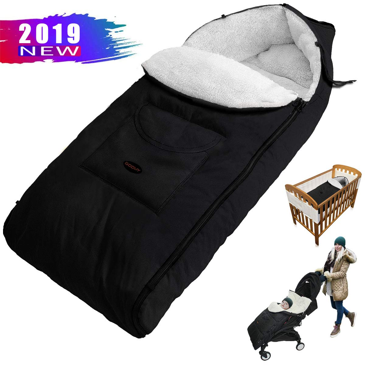 Black Winter Baby Footmuff Universal Stroller Sleeping Bag Pushchair Plush Cushions Seat Liner Waterproof Windproof Comfortable Toes Cover (Babies Over 12 Months)