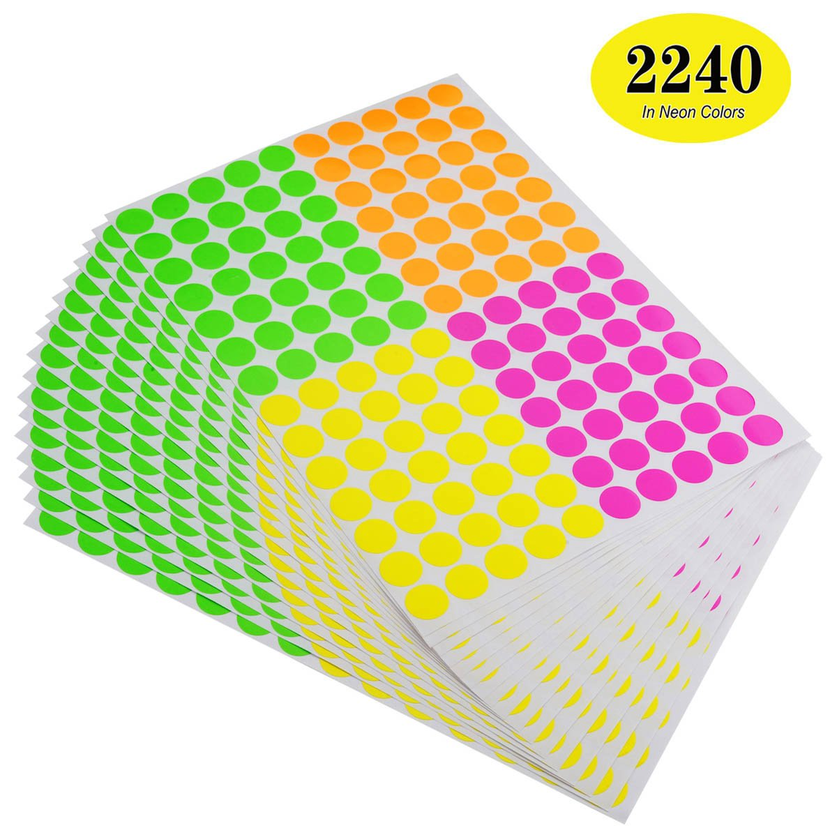 ONUPGO Pack of 2240 Round Color Coding Labels Circle Dot Stickers, 3/4'' Fluorescent Dot Labels Sticker, Bright Neon Colors Label (Assorted Neon Colors - (Pink, Green, Red, Yellow)) by OnUpgo (Image #1)