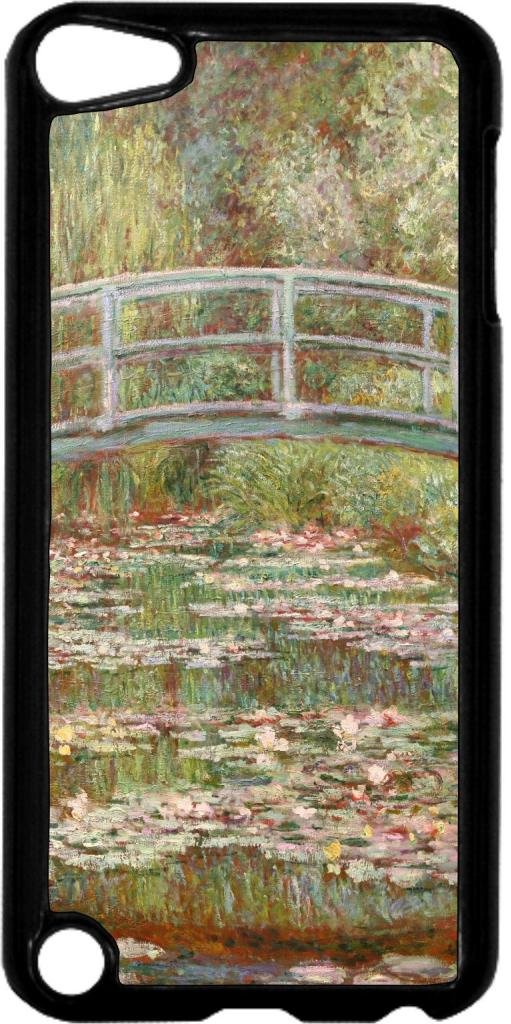 Claude Monet-Bridge Over A Pond Of Water Lilies- Case for the Apple Ipod 5th Generation-Hard Black Plastic