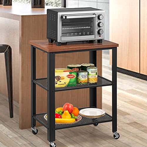 Microwave Cart on Wheels 3-Tier Roling Kitchen Island, Coffee Bar Serving Cart with Wood Look Metal Frame Black, Rustic Brown, 23.6 x 16 x 30.7 in