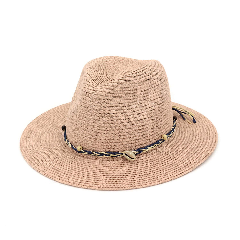 Woman Flat Brim Jazz Fedora Hats Lady Girls Panama Sun Hat Beach Straw Hat with Ribbon Shell Decoration