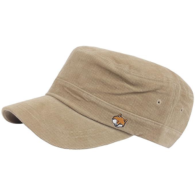 0c2a3ab6b0b RaOn A183 Fox Face Simple Basic Soft Corduroy Golf Club Army Cap Cadet  Military Hat (Beige)  Amazon.ca  Clothing   Accessories
