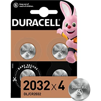 Duracell Pilas de botón de litio 2032 de 3 V, paquete de 4, con Tecnología Baby Secure, para uso en llaves con sensor magnético, básculas, elementos vestibles, dispositivos médicos DL2032/CR2032