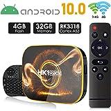 Android 10.0 TV Box 【4GB RAM 32GB ROM】 HK1 Ultra HD 4K Smart TV Box RK3318 Quad Core 64-bit with Wireles Mini Keyboard…