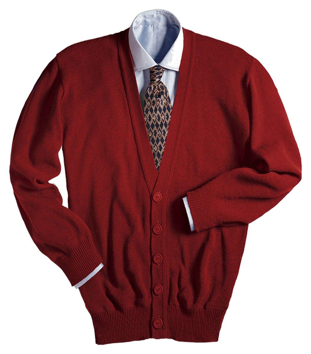 Edwards Garment Men's Machine Washable V Neck Cardigan, RED, Large