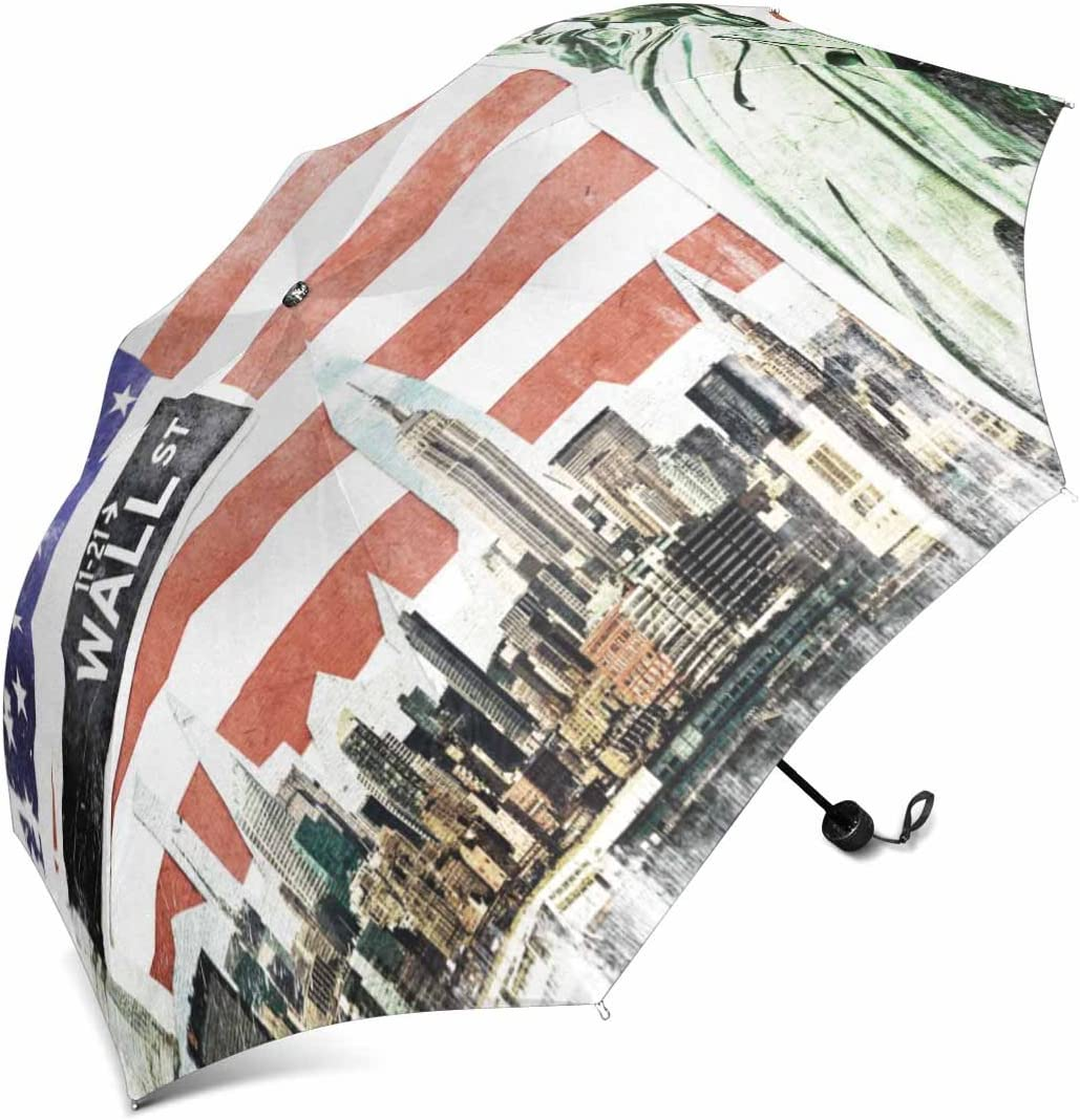 InterestPrint New York City Vintage Collage 43 Inch USA Flag Background Foldable Portable Outdoor Travel Compact Umbrella