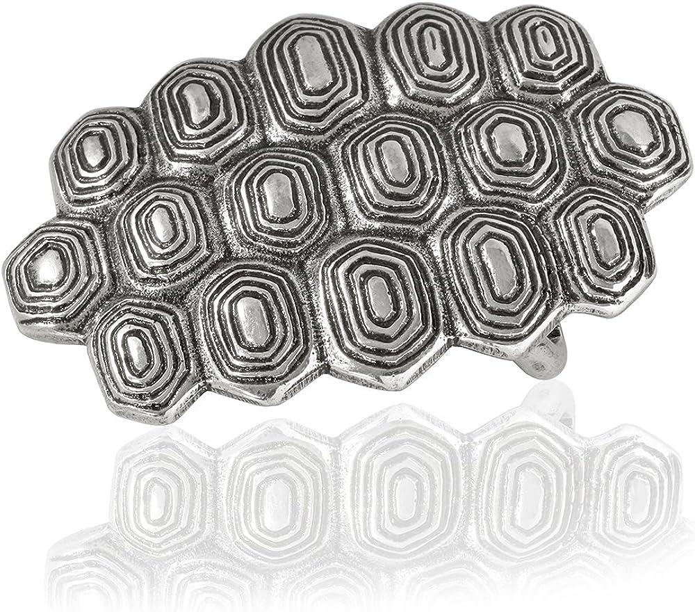 FREDERIC HERMANO G/ürtelschnalle Buckle 30mm Metall Silber Geschw/ärzt Silberfarben Geschw/ärzt Buckle Turtle Dornschliesse F/ür G/ürtel Mit 3cm Breite