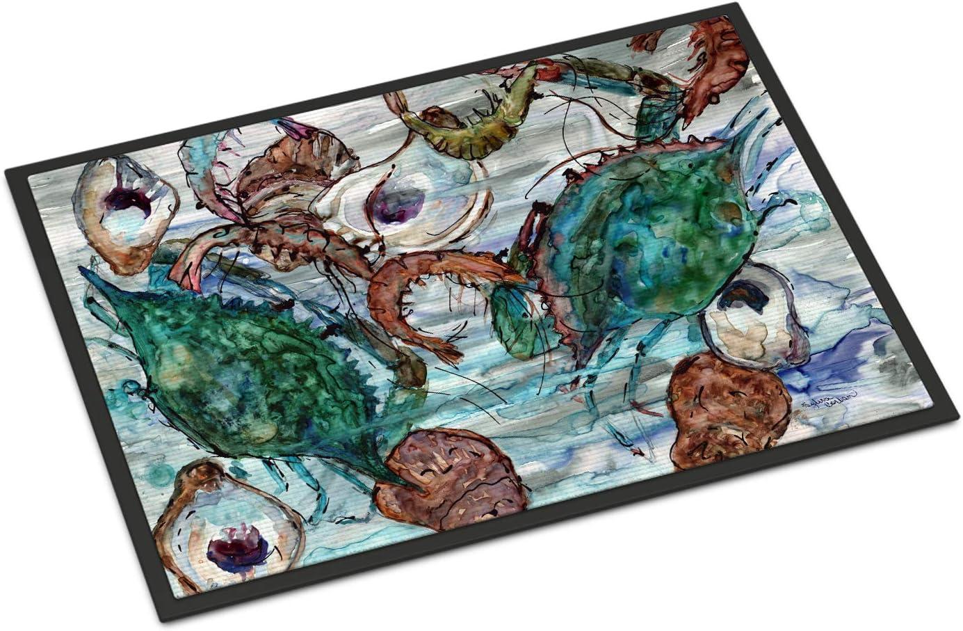 Caroline s Treasures 8965JMAT Shrimp, Crabs and Oysters in Water Indoor or Outdoor Mat 24×36, 24H X 36W, Multicolor