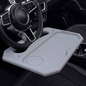 Silence Shopping Car Tray for Eating Steering Wheel Tray Truck Steering Wheel Desk Steering Wheel Tables Multifunctional Car Desk for iPad, Notebook, Laptop, Food, Travel, Fits Most Vehicles (Grey)