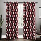 Exclusive Home Curtains Ironwork Sateen Woven Blackout Grommet Top Curtain Panel Pair, 52x84, Burgundy, 2 Count