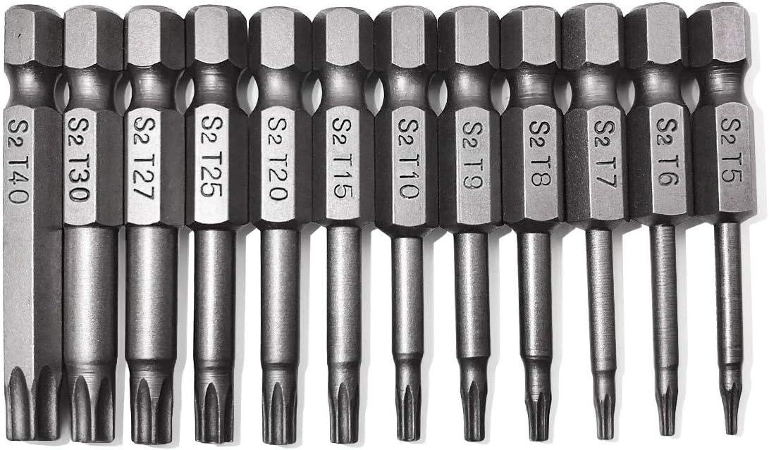 Coated Bits Set with S2 Torx T-Star 6 Point Insert Screw Driving Bit T5-T6-T7-T8-T9-T10-T15-T20-T25-T27-T30-T40 19001 TiN NordWolf 12-Piece Titanium Nitride
