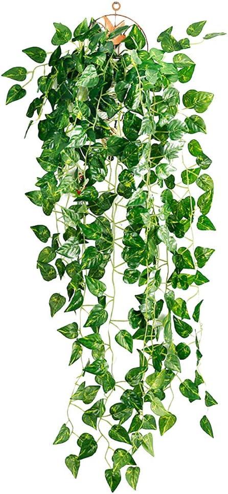 NUOLUX Artificial Fake Scindapsus Leaves Greenery Ivy Vine Plants para decoración de interiores Indoor Outdoor (hojas de Scindapsus)