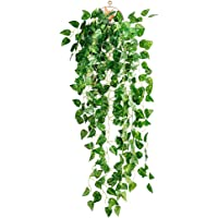 ROSENICE Plastic Hanging Vine Plant Artificial Fake Plant for Home Office Party Decoration (Scindapsus Leaves)
