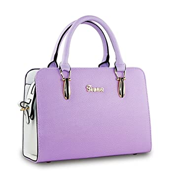 Flada Women s Girls Tote Shoulder Bags Ladies Faux Leather Handbags Purple   Amazon.co.uk  Luggage