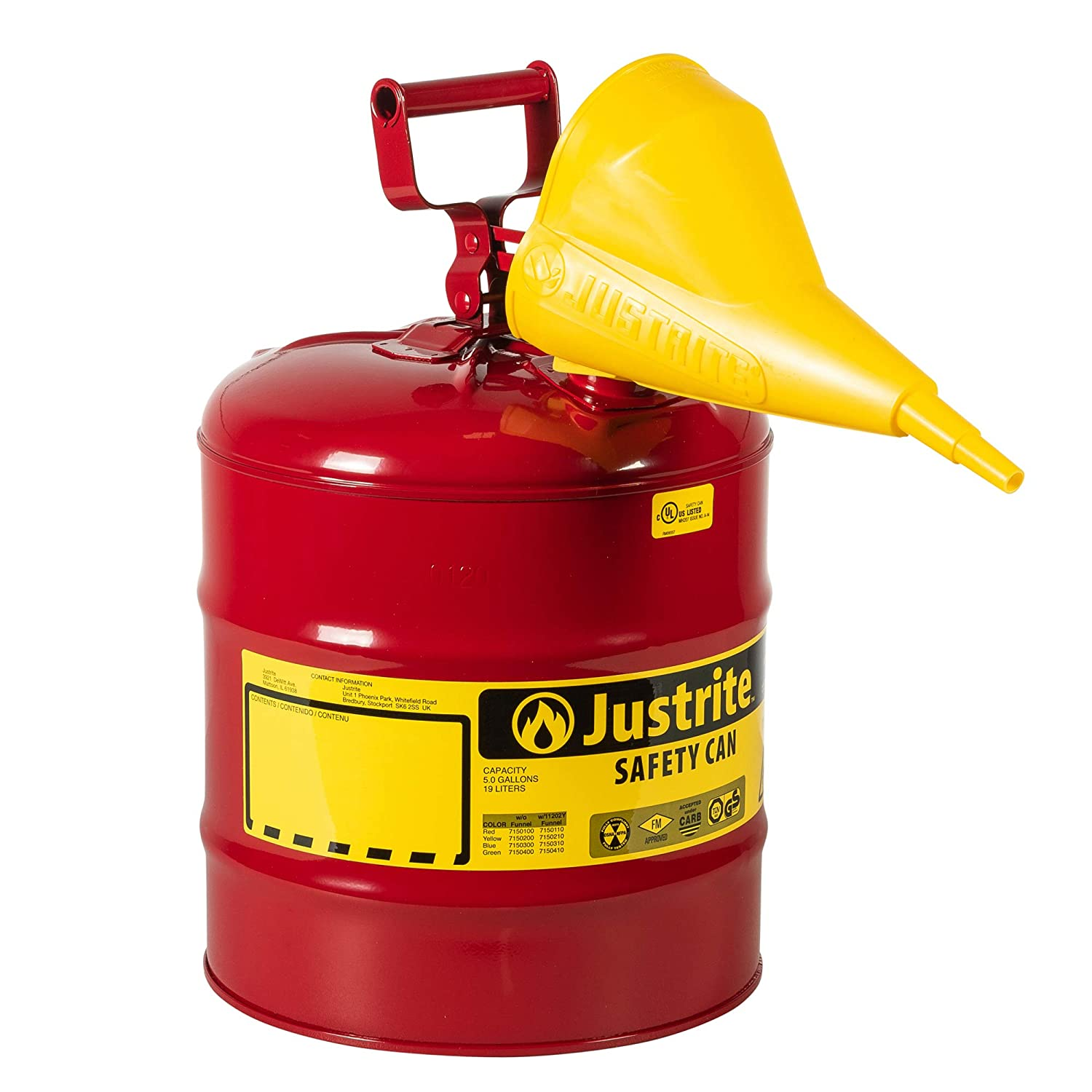 """Justrite 7150110 5 Gallon, 11.75"""" OD x 16.875"""" H Galvanized Steel Type I Red Safety Can With Funnel: Hazardous Storage Cans: Industrial & Scientific"""