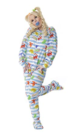 ABDL Supply Dinosaur Adult Footed Pajamas (Extra Small)