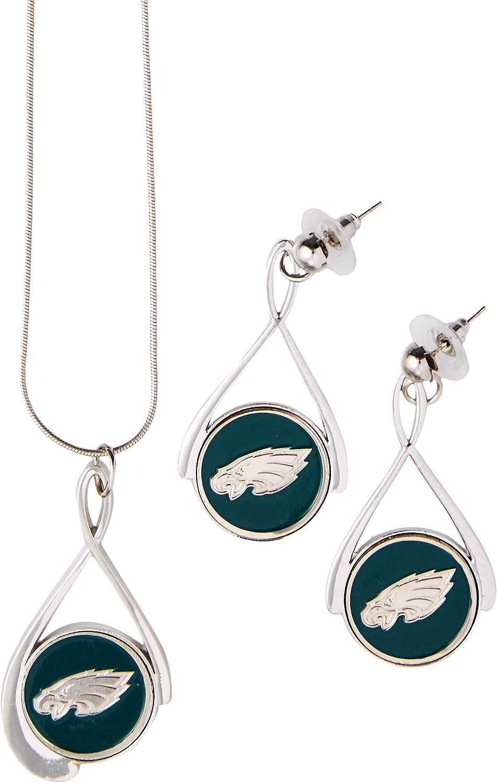 NFL Philadelphia Eagles Tear Drop Necklace And Earrings Set