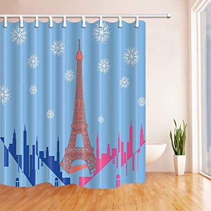SZZWY France Paris Shower Curtains Cartoon Eiffel Tower In Christmas Snow Polyester Fabric Waterproof Bathroom Bath