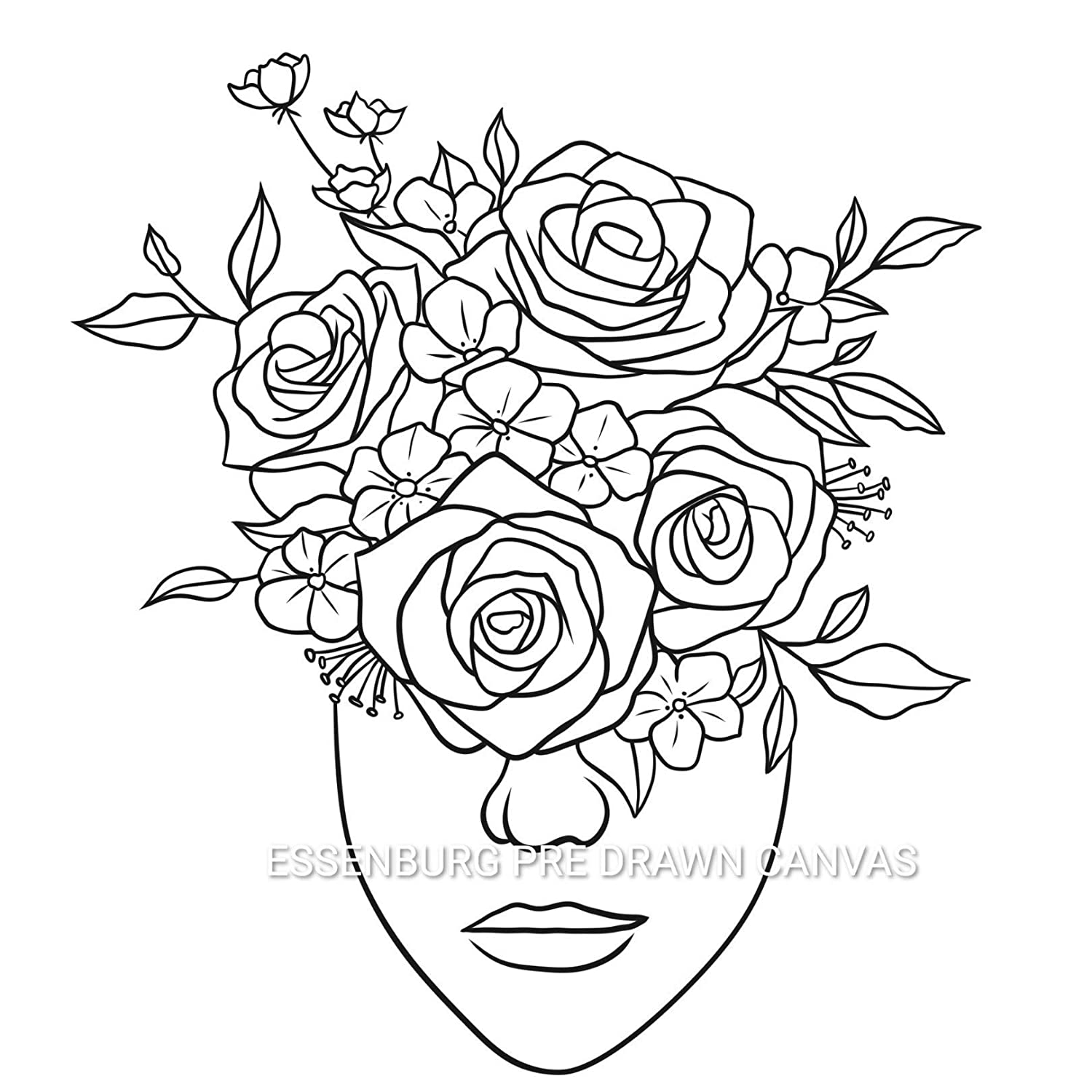 Pre Drawn Canvas Flower Lady Paint Kit | Adult & Teen Sip and Paint Party Favor | DIY Date Night Couple Activity