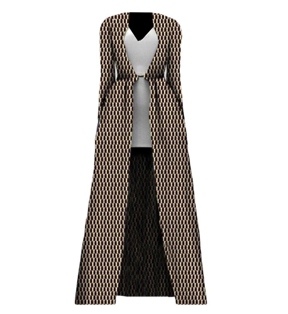 YUNY Womens Plus Size African Print Longline Cardigan Classic Trench Coat 4 XS
