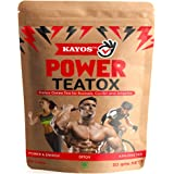 Kayos Power Teatox - Testosterone Boosting Detox Green Tea for Runner, Cyclists and Athletes for Weight Loss, Energy & Endurance with Hibiscus, Rooibos, White Musli, Shilajit, Ashwagandha - 50g