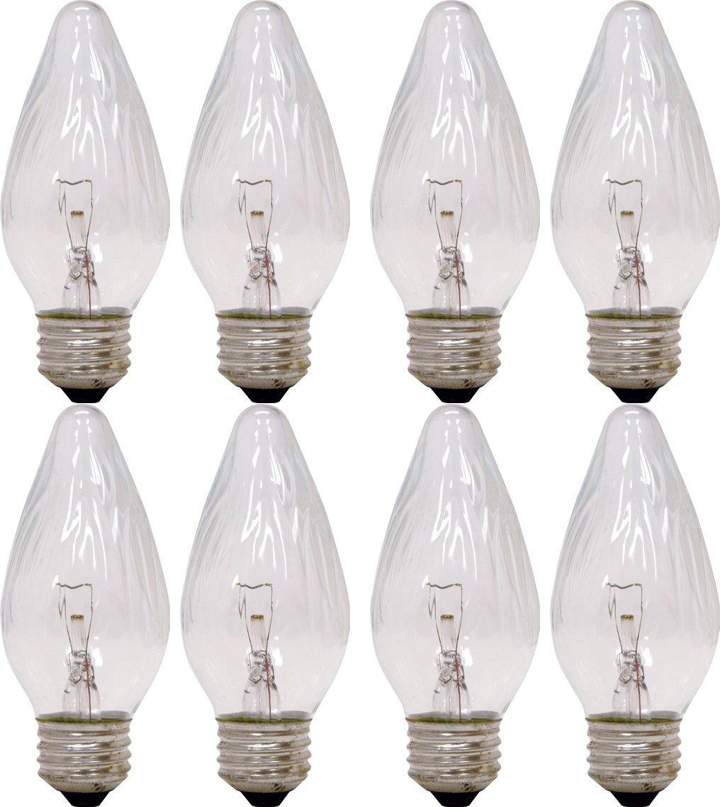 GE Auradescent 75340 25-Watt, 120-Lumen Flame Tip Light Bulb with Medium Base, 8-Pack