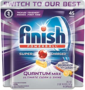 Finish Quantum Max Ultra-Degreaser w. Lemon, 45ct, Dishwasher Detergent Tablets