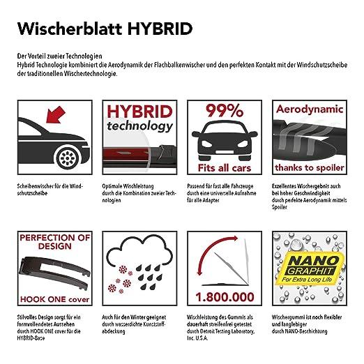 CORSA C ab Baujahr Sep 00 Sep 06 HEYNER Scheibenwischer Hybrid Front+Heck SET mit Nano-Beschichtung OPL